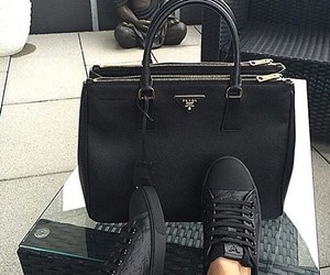 bag, all black, and love image