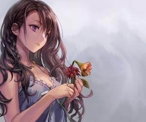 anime girl, brown hair, and flowers image
