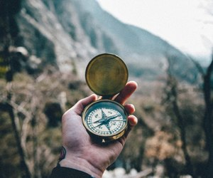 compass, forest, and mountains image