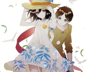 anime couples, snk, and shingeki no kyojin image