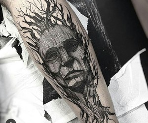 tattoo, tree, and face image