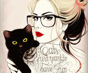 black cat, cats, and glasses image
