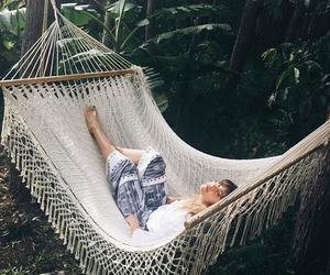 girl, hammock, and place image