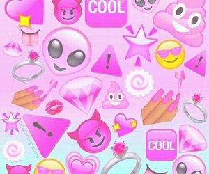 pink, emoji, and cool image