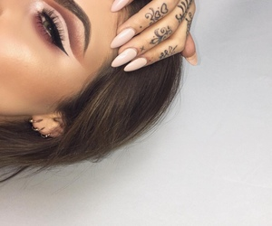 makeup, nails, and tattoo image