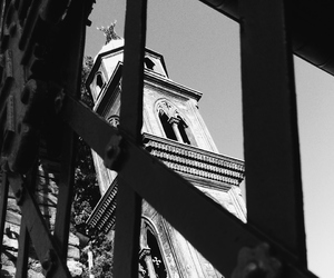 b&w, black, and church image