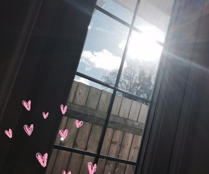 fence, hearts, and sun image
