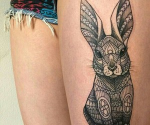 tattoo, bunny, and leg image