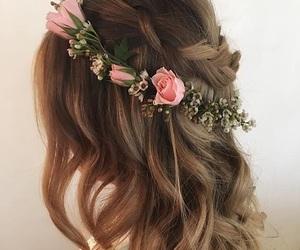 brunette, crown, and flower image