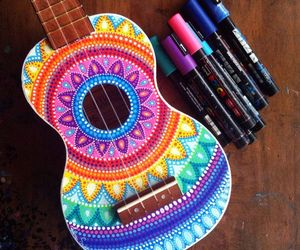 guitar, colors, and art image