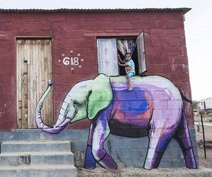 elephant, art, and child image