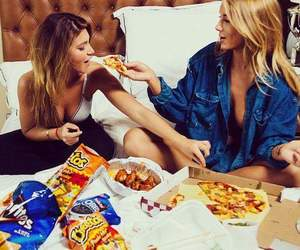 girls, food, and pizza image