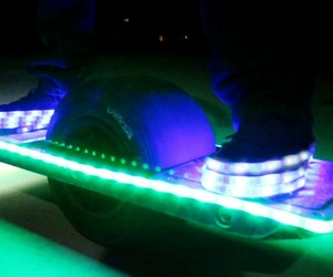 yeezys, light up shoes, and hoverboard image