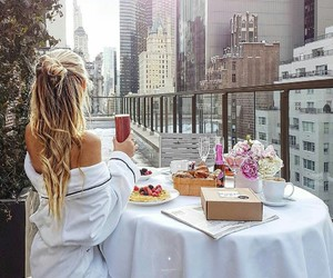 food, city, and blonde image