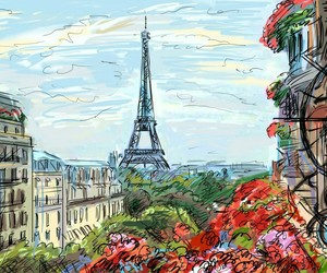 beauty, illustration, and eiffel tower image