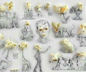 art, popcorn, and drawing image