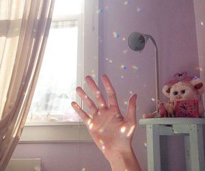 bedroom, hand, and light image