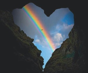 rainbow, heart, and sky image