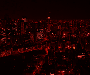 red, city, and night image