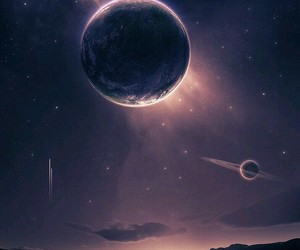 planet, sky, and stars image