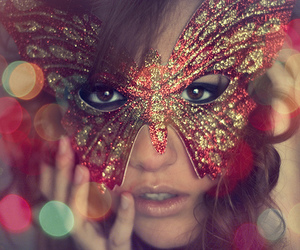 mask, girl, and butterfly image