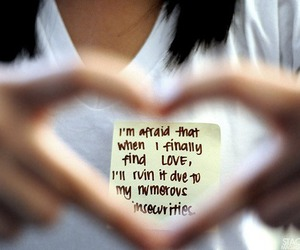love, heart, and afraid image