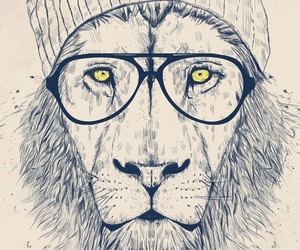 lion, hipster, and glasses image