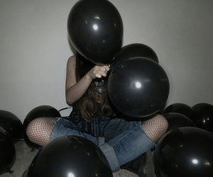 aesthetic, balloons, and black image