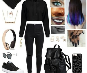 black, outfits, and fashion image