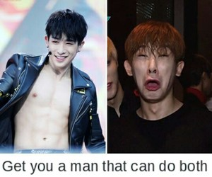 kpop, meme, and wonho image