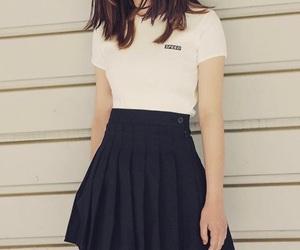 black, black skirt, and skirt image