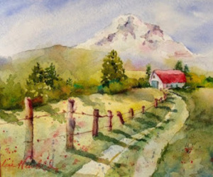 lane, watercolour, and rural image