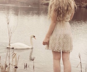 girl, Swan, and lake image