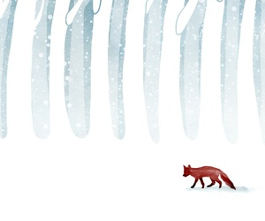 art, fox, and snow image