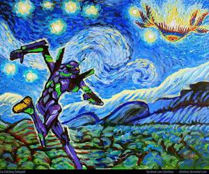 art, noche estrellada, and evangelion image