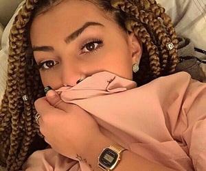 blonde, makeup, and box braids image
