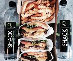 food, burger, and water image