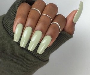 beauty, brown skin, and green nails image