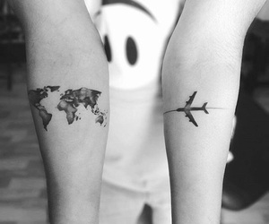 tattoo, airplane, and ink image