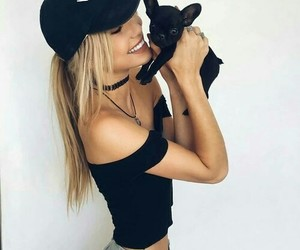 girl, dog, and fashion image