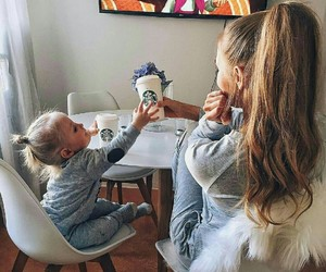 baby, mom, and starbucks image