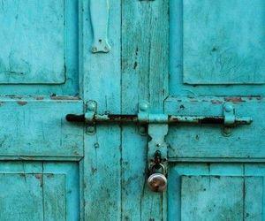 door, pink, and blue image