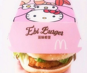 burger, food, and hello kitty image
