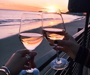wine, beach, and sunset image