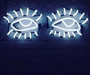 blue, eyes, and neon image