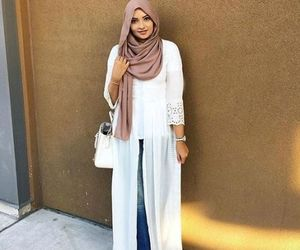 floral dress, slip on, and hijab spring outfit image