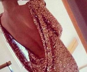 dress, gold, and sexy image