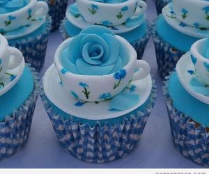 cupcake, blue, and rose image