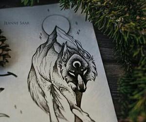 art, tattoo, and wolf image