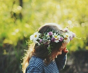flower crown, flowers, and girl image